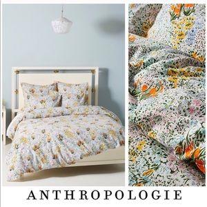 Anthropologie All Over Wild Flower King Duvet Set